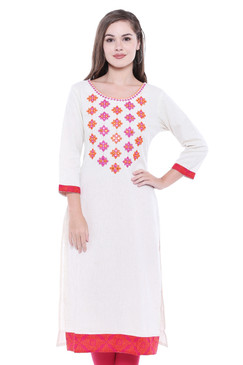Women's White Indian Kurta Tunic with Embroiderey | In-Sattva