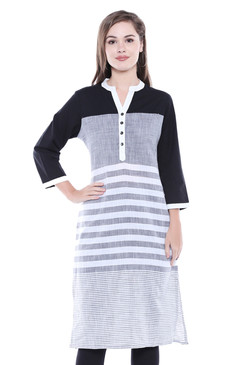 Women's Indian Kurta Tunic - Three-Tone Stripe Print - Front | In-Sattva