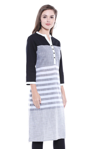 Women's Indian Kurta Tunic - Three-Tone Stripe Print - Side | In-Sattva