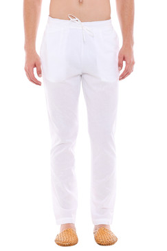 Men's White Pajama Pants - Solid Straight Cut - Front | In-Sattva