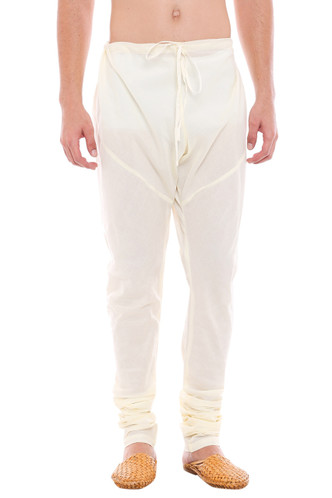 Mens Traditional Indian Churidar Pants - Off-White - Front | In-Sattva