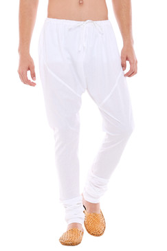 Mens Traditional Indian Churidar Pants - White - Front | In-Sattva