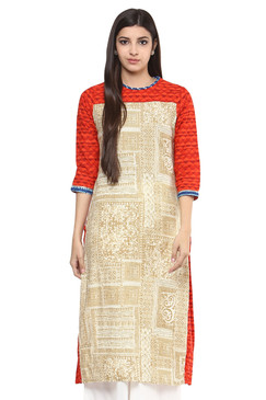 Women's Kurta Tunic - 100% Cotton Unique Artisan Print - Front | In-Sattva