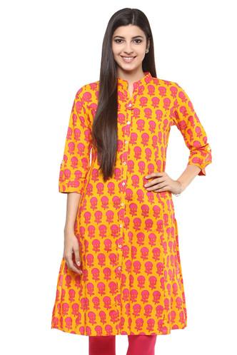 Kurta Tunic Shirt Dress Women's Indian Floral Print Cotton - Front | In-Sattva