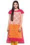 Kurta Tunic Women's Indian Long Pink Cotton Unique Detailing - Front | In-Sattva