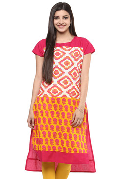 Kurta Tunic Women's Indian Long Pink Cotton Unique Detailing - Front | In-Sattva