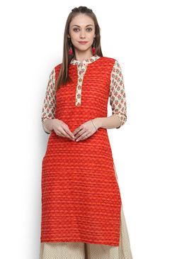 Kurta Tunic Women's Indian Long Pure Cotton Printed Sleeves - Front | In-Sattva