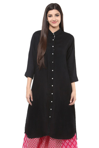 Long Shirt Kurta Tunic Dress Rich Solid Color - Front - In-Sattva