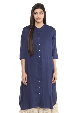 Long Shirt Kurta Tunic Women's Dress Pure Cotton Solid Navy Blue - Front | In-Sattva
