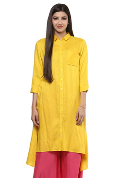 Long Shirt Kurta Tunic Dress Women's Pure Cotton Rich Solid Color - Front - In-Sattva