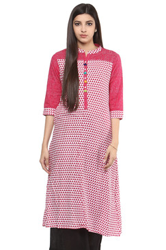 Kurta Tunic Women's Long Summer Pure Cotton Diamond Print - In-Sattva - Front