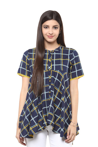 Exclusive Checkered Print In-Sattva Top Tunic - front