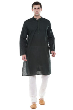 Men's Two-Piece Ensemble - Olive Green Pure Cotton Kurta Pajama - Full display | In-Sattva