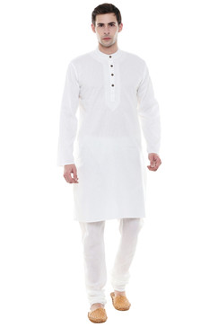 Men's Two-Piece Ensemble - White Pure Cotton Kurta Pajama - Full Display | In-Sattva