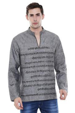 In-Sattva Men's Sanskrit Mantra Print Positive Vibe Pure Cotton Kurta Tunic Gray