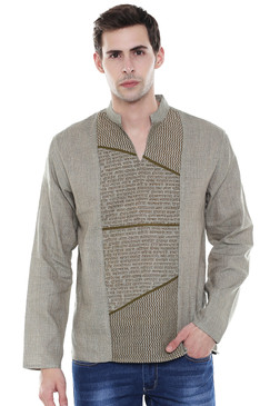Men's Sanskrit Mantra Print Pure Cotton Beige Kurta Tunic - Front | In-Sattva