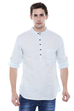 Short Kurta Tunic Men's Henley Style Slim Fit Pure Cotton - Front | In-Sattva