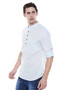 Short Kurta Tunic Men's Henley Style Slim Fit Pure Cotton - Side | In-Sattva