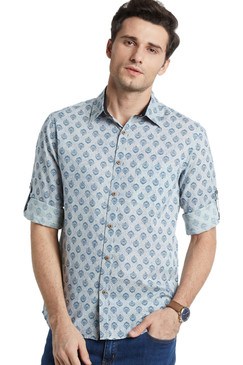 Blue Fitted Button Down Men's Shirt - Vintage Faded Look - Front | In-Sattva