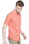 Short Sleeves Button Down Men's Shirt with Banded Collar - Side | In-Sattva