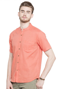 Short Sleeves Button Down Men's Shirt with Banded Collar - Front | In-Sattva