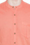 Short Sleeves Button Down Men's Shirt with Banded Collar - Garment details | In-Sattva