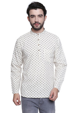 Men's Shirt-Length Block Printed Kurta Tunic - Front | In-Sattva