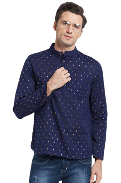 Navy Blue Men's Untucked Printed Kurta Tunic - Front | In-Sattva