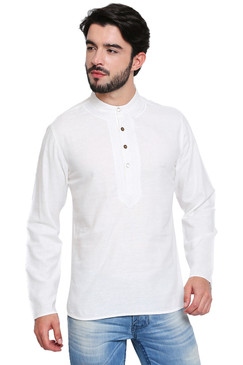 White Men's Shirt-Length Kurta Tunic - Front | In-Sattva