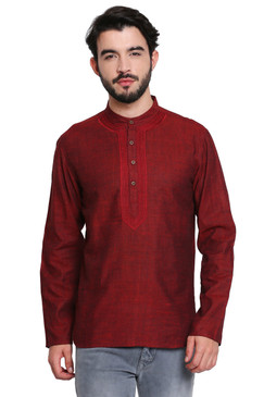 Maroon Men's Shirt-Length Kurta Tunic - Front | In-Sattva