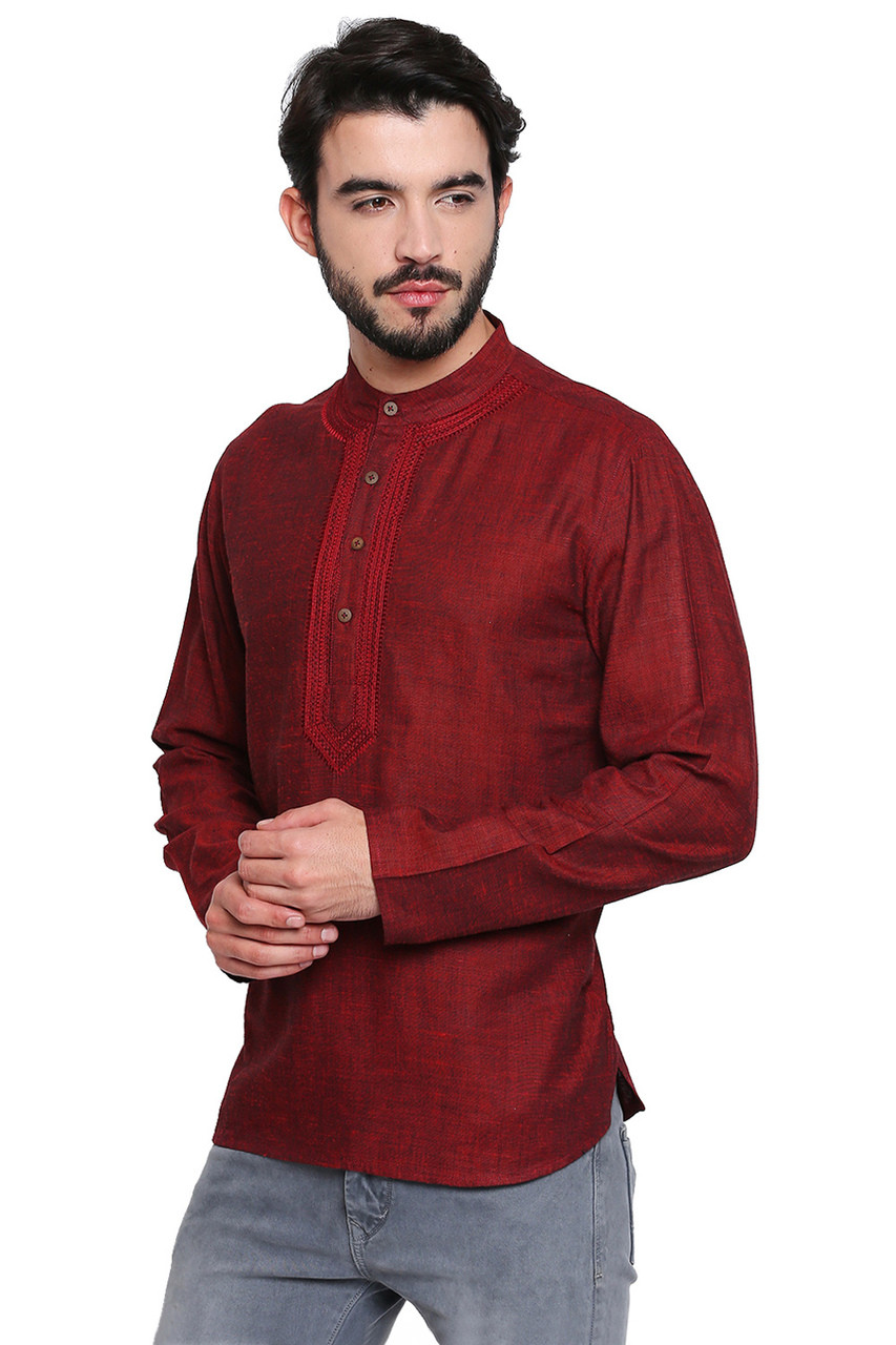 Maroon Mens Shirt Length Kurta Tunic In Sattva