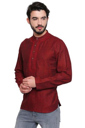 Maroon Men's Shirt-Length Kurta Tunic - Side | In-Sattva