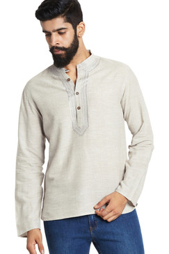 Men's Shirt-Length Embroidered Kurta Tunic - Front | In-Sattva