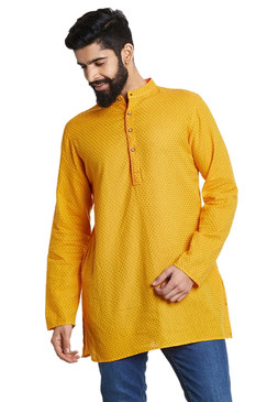 Shatranj Men's Indian Mandarin Collar Summer Sunshine Dobby Print Kurta Tunic