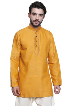 Classic Indian Men's Kurta Tunic: Mustard Color - Front | In-Sattva