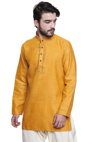 Classic Indian Men's Kurta Tunic: Mustard Color - Side | In-Sattva