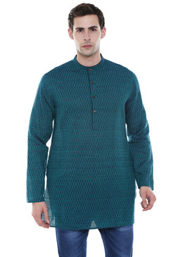 Men's Kurta Tunic - French Water Blue Pure Cotton Fabric -  Front | In-Sattva
