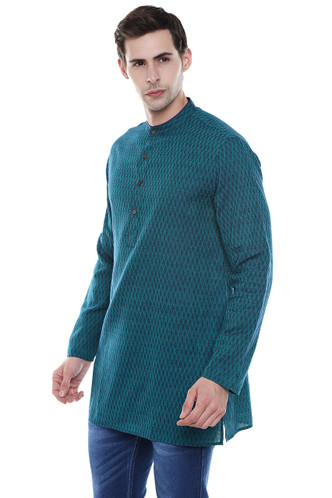 Men's Kurta Tunic - French Water Blue Pure Cotton Fabric -  Side | In-Sattva