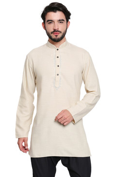 Classic Indian Men's Kurta Tunic: Beige - Front | In-Sattva