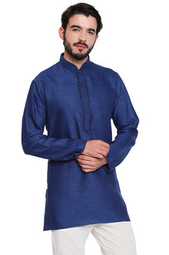 Navy Men's Kurta Tunic: Classic Indian - Front | In-Sattva