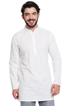 White Pure Cotton Men's Kurta Tunic - Front | In-Sattva