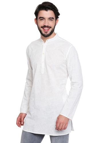 White Pure Cotton Men's Kurta Tunic - Side | In-Sattva