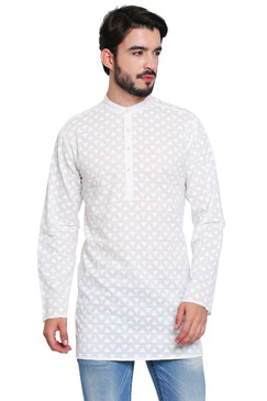 Classic Indian White Men's Kurta Tunic - Front | In-Sattva