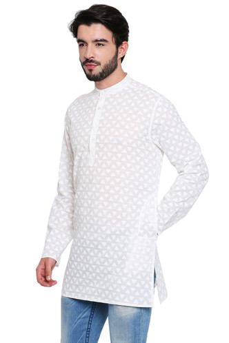 Classic Indian White Men's Kurta Tunic - Side | In-Sattva