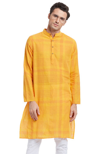 Indian Men's Kurta Tunic: Yellow with Checkered Print - Front | In-Sattva