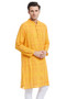 Indian Men's Kurta Tunic: Yellow with Checkered Print - Side | In-Sattva