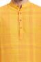 Indian Men's Kurta Tunic: Yellow with Checkered Print - Garment Details | In-Sattva