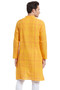Indian Men's Kurta Tunic: Yellow with Checkered Print - Back | In-Sattva
