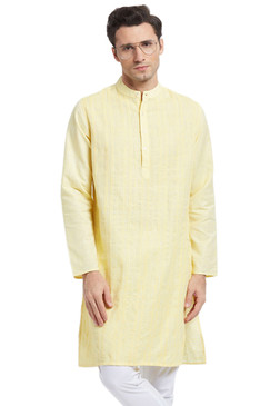 Men's Kurta Tunic: Lemon with Vintage Style Texture - Front  | In-Sattva