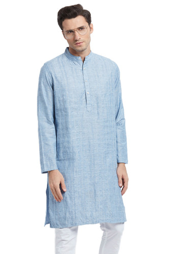 Men's Kurta Tunic: Light Blue with Vintage Style Texture - Front | In-Sattva